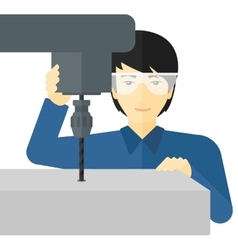 Man working with boring mill vector image