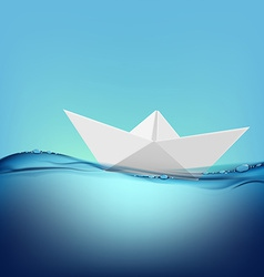 paper boat floating on the water surface vector image