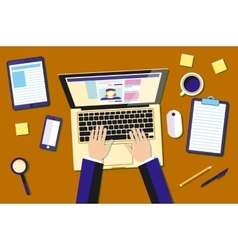 Professional creative graphic designer working at vector image