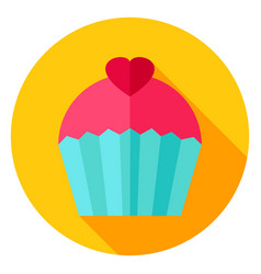 sweet cupcake circle icon vector image