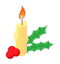 Christmas candle and berries icon cartoon style vector image vector image