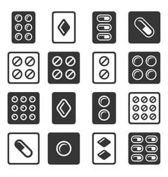 drug pills in blister icons set vector image