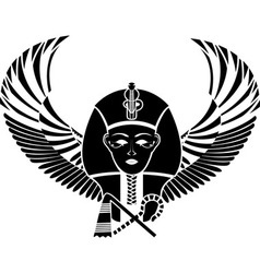 Egyptian pharaoh with wings vector image vector image