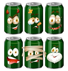 Facial expressions on soda cans vector image vector image
