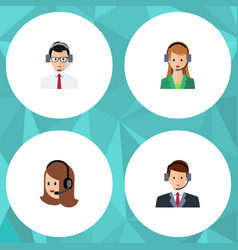 flat hotline set of service help hotline and vector image vector image