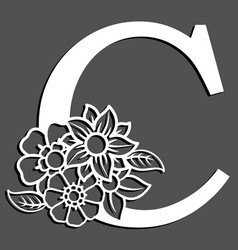 letter silhouette with flowers letter c vector image