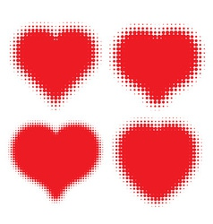 Set of Red Hearts Halftone logo vector image