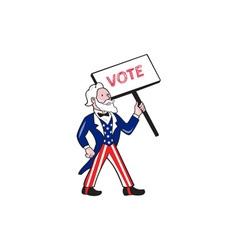 Uncle Sam Placard Vote Standing Cartoon vector image