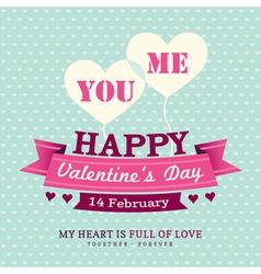 Valentines Invitation card design template ribbon vector image vector image