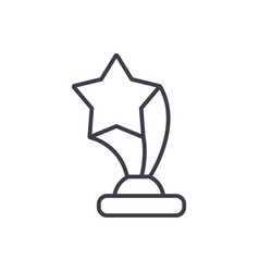 award cup with star line icon sign vector image vector image
