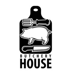 butchery house logotype with pig outline and vector image