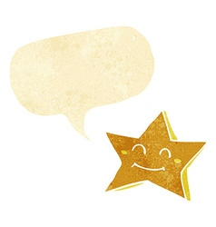 cartoon happy star character with speech bubble vector image vector image