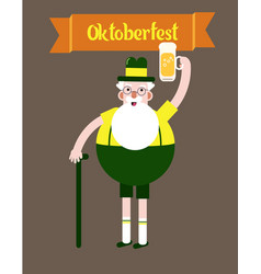 Grandfather with a glass of beer folk costumes vector