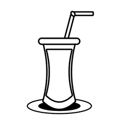 outline cocktail drink beverage with straw vector image vector image