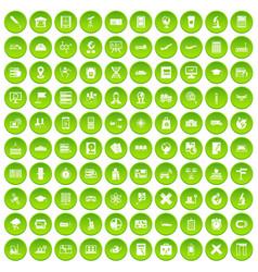 100 globe icons set green circle vector