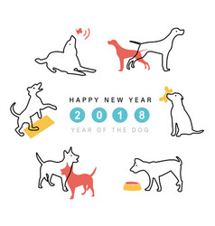 2018 happy new year dog cute funny cartoon vector
