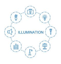 8 illumination icons vector