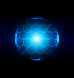 abstract blue lighting with hexagon and mesh vector image