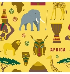 Africa icons set pattern vector image