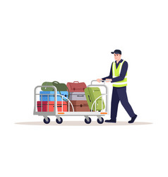 Airport staff semi flat rgb color man carry vector