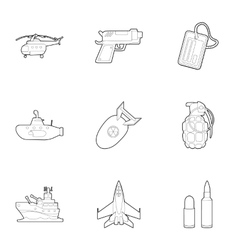 Army weapons icons set outline style vector