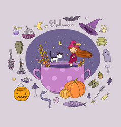 Autumn theme halloween little cute girl and a vector