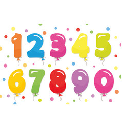 balloon coloder numbers set for birthday vector image