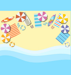 Beach seashore with waves chaise lounge vector