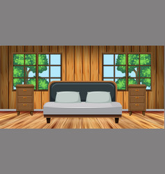 Bedroom with wooden furniture vector