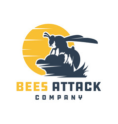 bees attacking animal logo design vector image