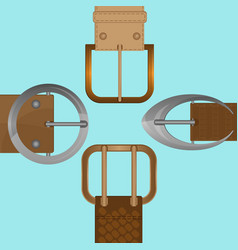 Belt buckles of round square and oval shape vector