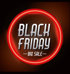 black friday sale inscription on red bright circle vector image