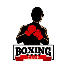 Boxing club logotype with sportsman in gloves vector