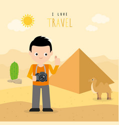 boy travel egypt country holiday summer vector image