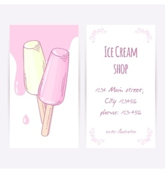Business card template with hand drawn fruity ice vector image
