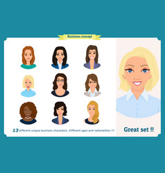 business woman avatars team icons collection vector image