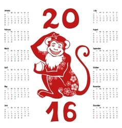 Calendar 2016Chinese zodiac red monkey vector image