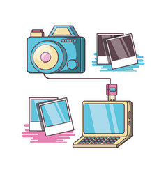 Camera device dowloading picture design vector