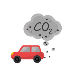 Car emitting carbon dioxide co2 environmental vector