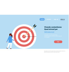 casual woman standing target arrow goal success vector image