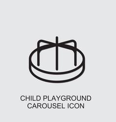 Child playground carousel icon vector