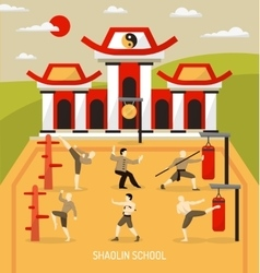 Chinese Temple Martial Arts Composition vector
