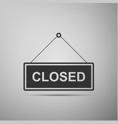 closed door sign flat icon on grey background vector image vector image