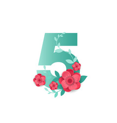color number 5 with beautiful flowers vector image