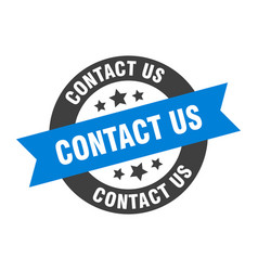 Contact us sign contact us blue-black round vector