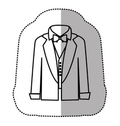 Contour sticker shirt with bow tie and coat icon vector