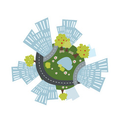 cozy urban planet with buildings roads and park vector image