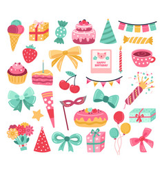 cute birthday sticker party cake greeting vector image