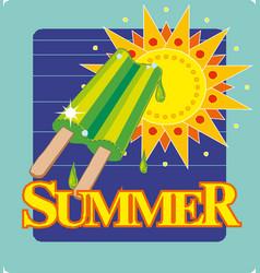 cute cartoon sun with ice cream summer image for vector image