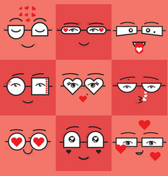 Cute coral and red valentines emoji faces set vector